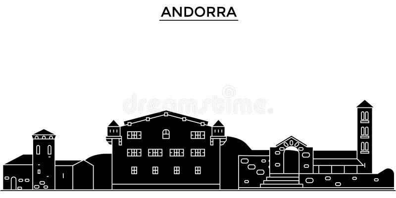 Horizon van de de architectuur de vectorstad van Andorra, reiscityscape vector illustratie