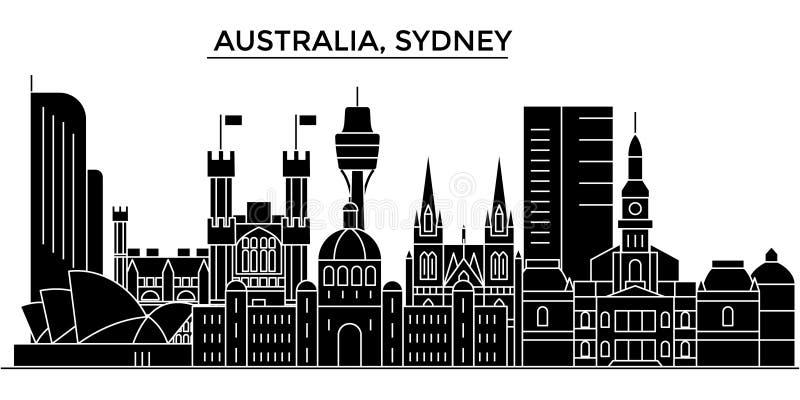 Horizon van de de architectuur de vectorstad van Australië, Sydney stock illustratie