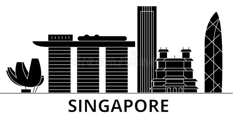 Horizon van de de architectuur de vectorstad van Singapore vector illustratie
