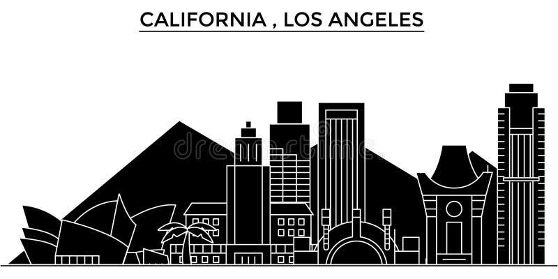 Horizon van de de architectuur de vectorstad van de V.S., Californië Los Angeles, reiscityscape met oriëntatiepunten, geïsoleerde vector illustratie