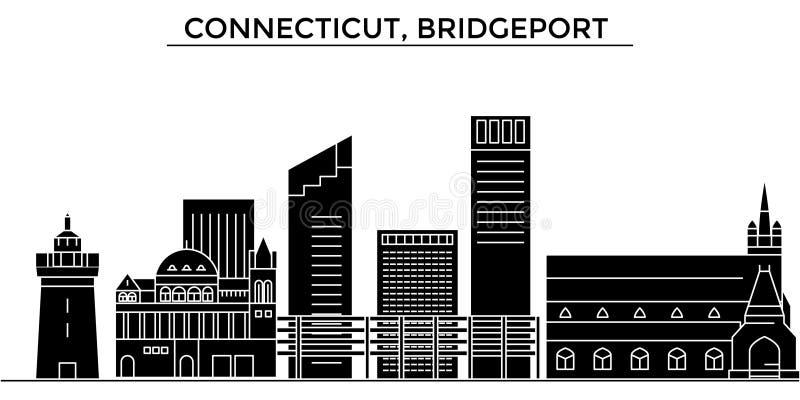 Horizon van de de architectuur de vectorstad van de V.S., Connecticut, Bridgeport, reiscityscape met oriëntatiepunten, geïsoleerd vector illustratie