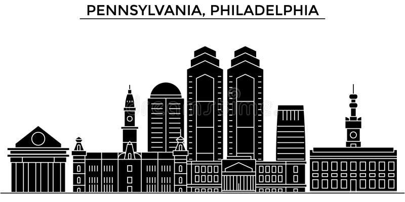 Horizon van de de architectuur de vectorstad van de V.S., Pennsylvania, Philadelphia, reiscityscape met oriëntatiepunten, geïsole royalty-vrije illustratie