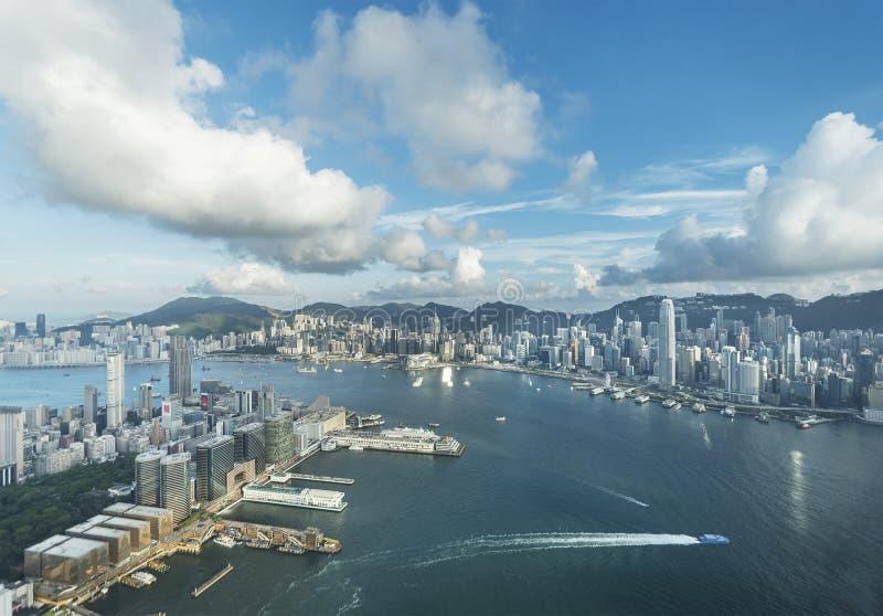 Horizon van de Stad van Hongkong royalty-vrije stock foto's