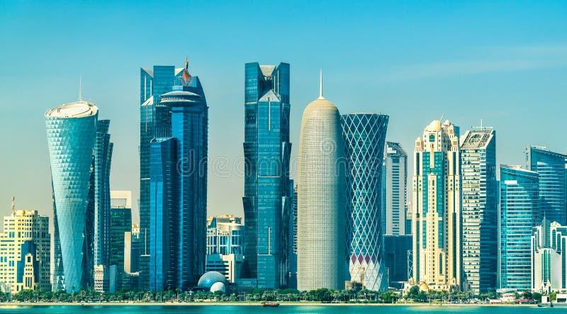 Horizon van Doha, de hoofdstad van Qatar stock fotografie