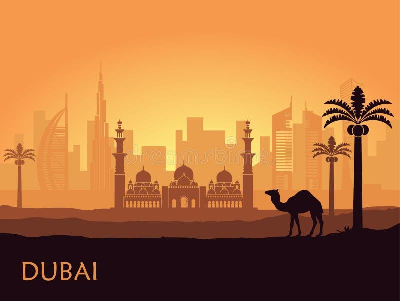 Horizon van Doubai met kameel en dadelpalm Verenigde Arabische emiraten vector illustratie