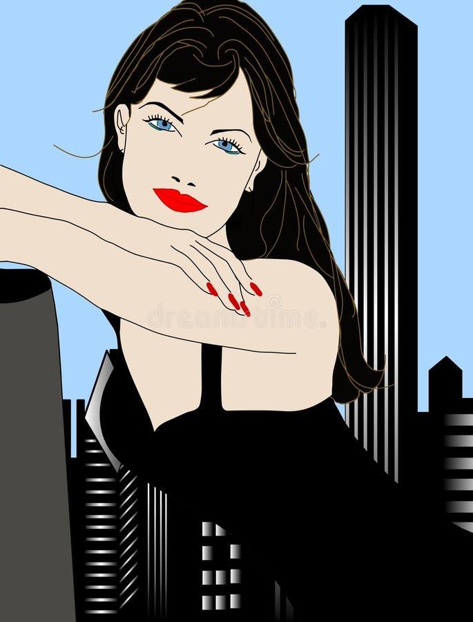 Horizon van het de vrouwenmeisje van de stad de mooie vector illustratie