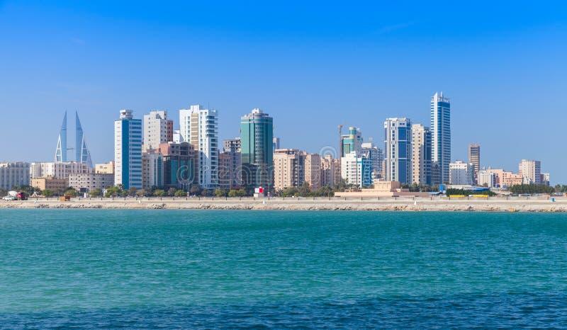 Horizon van Manama-stad, Bahrein, Midden-Oosten stock afbeeldingen