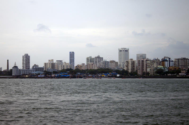 Horizon van megalopolis Mumbai stock foto's
