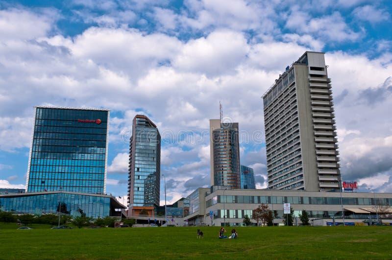 Horizon van Moderne Stad Vilnius royalty-vrije stock afbeelding