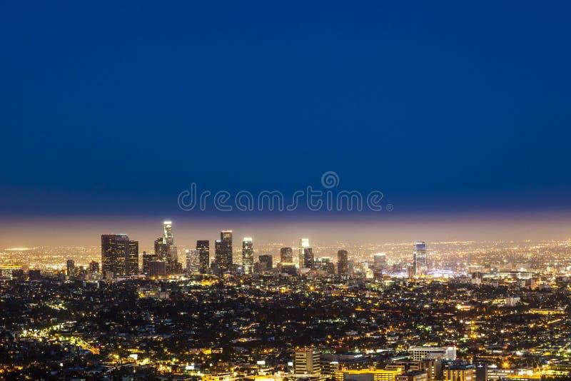 Horizon van 's nachts Los Angeles stock afbeeldingen