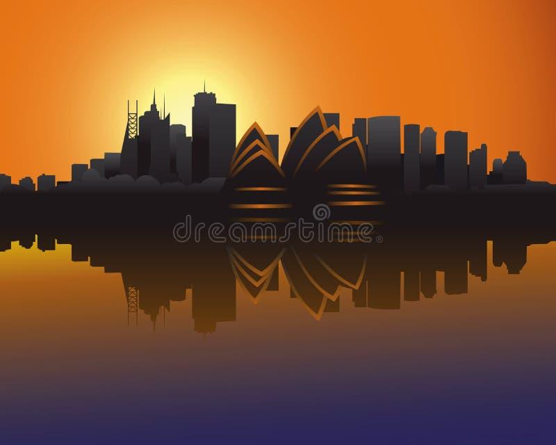 Horizon van Sydney bij zonsondergang