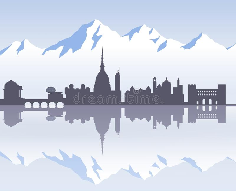 Horizon van Turijn ` s voorbij stock illustratie