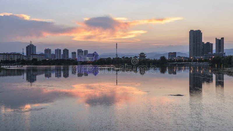 Horizon van Yuxi van Nie Er Music Square Park, één van grootst in Yuxi royalty-vrije stock foto's