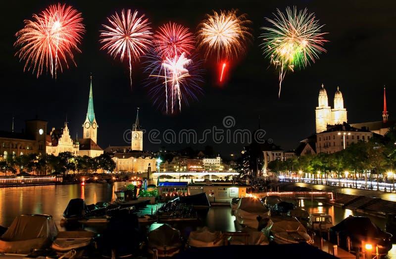 horizon Zurich de nuit de ville photographie stock libre de droits