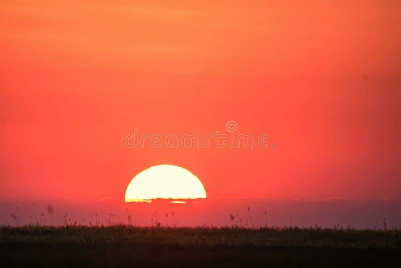 Horizonlijn met zon het plaatsen royalty-vrije stock fotografie
