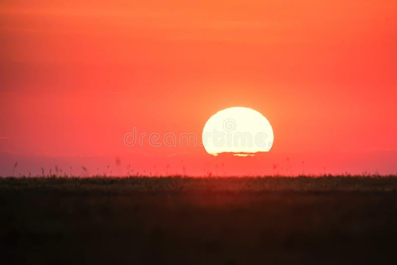 Horizonlijn met zon het plaatsen stock foto