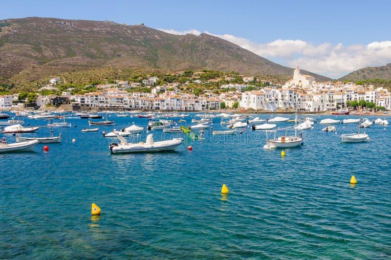 Horizonmening van Cadaques in Costa Brava, Spanje royalty-vrije stock foto