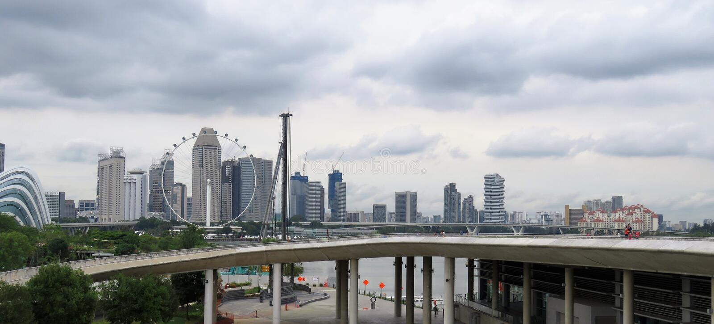 Horizonmening van de wolkenkrabber van Singapore - Buidling- stock afbeeldingen