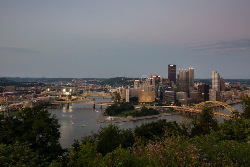 Horizonmening van Pittsburgh Pennsylvania royalty-vrije stock afbeelding