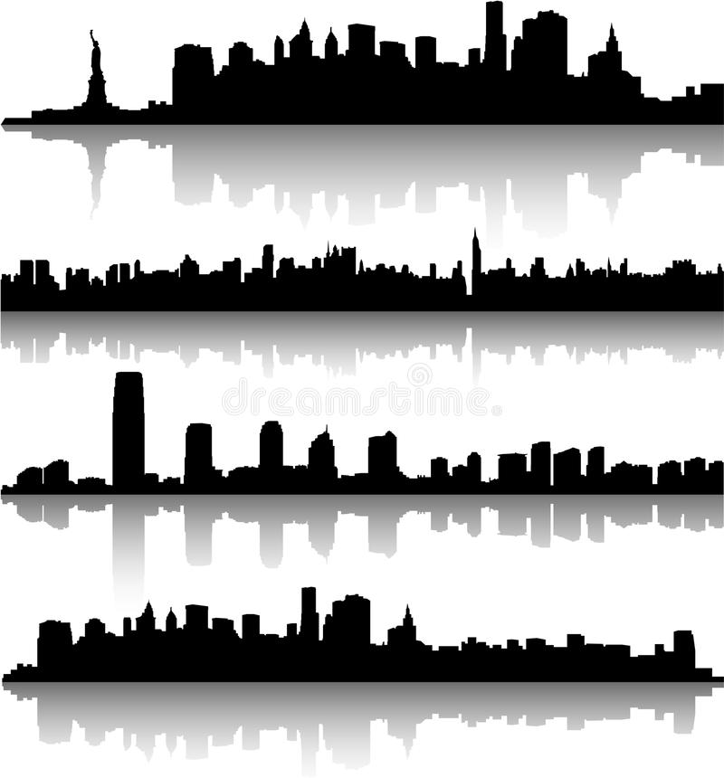Horizons de New York City illustration de vecteur