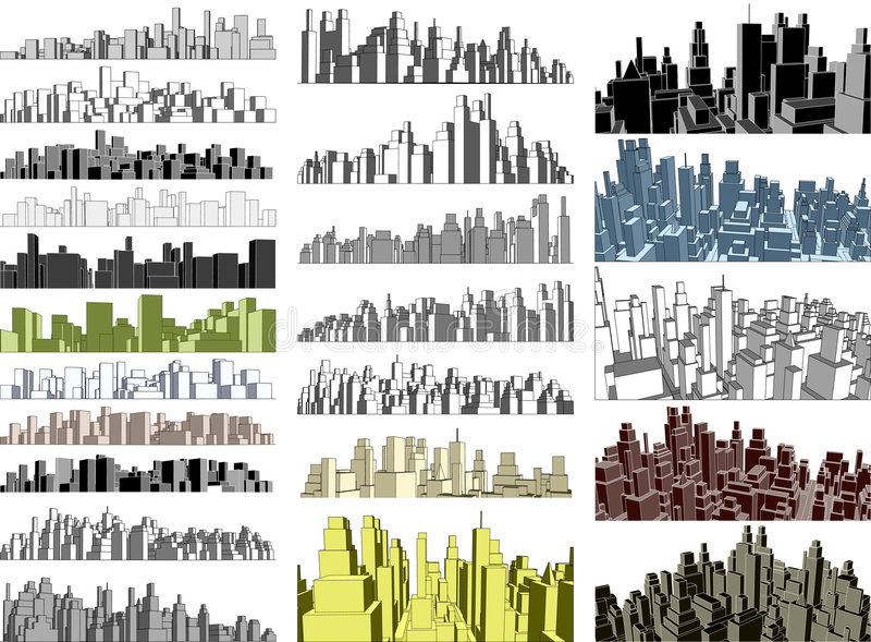 Horizons de ville illustration libre de droits
