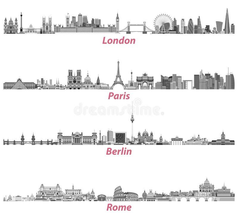 Horizons de ville de Londres, de Paris, de Berlin et de Rome illustration stock