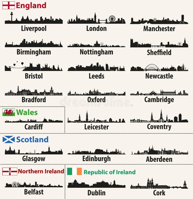 Horizons de ville de vecteur des pays d'îles britanniques illustration stock
