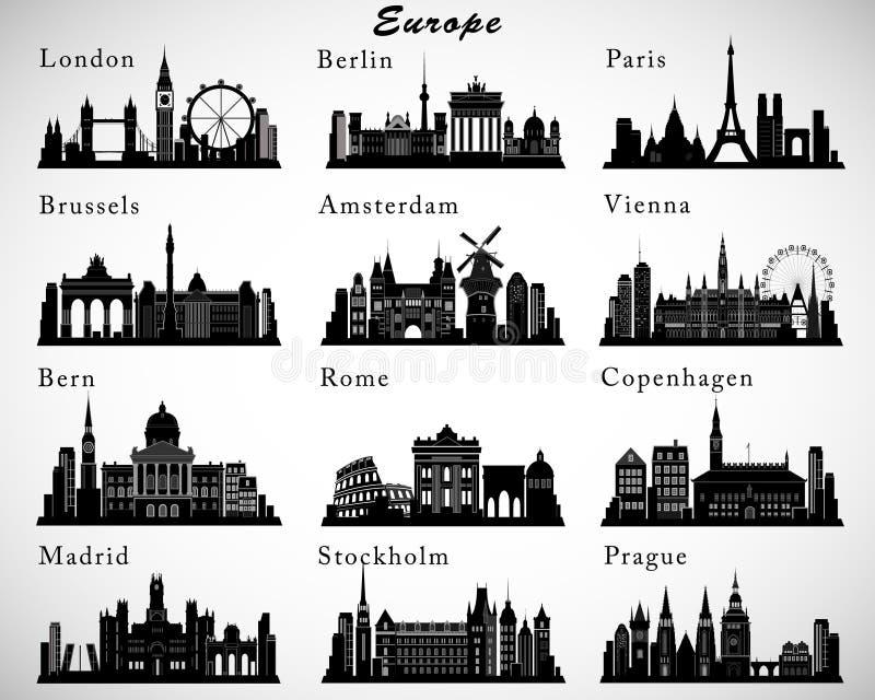 Horizons européens de villes réglés Silhouettes de vecteur illustration libre de droits