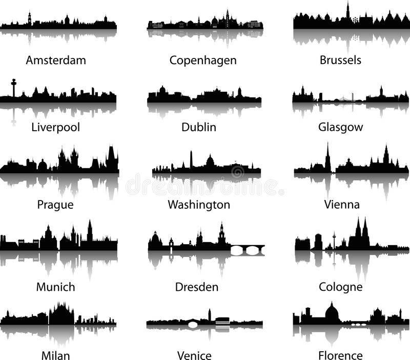 Horizons panoramiques de ville illustration stock