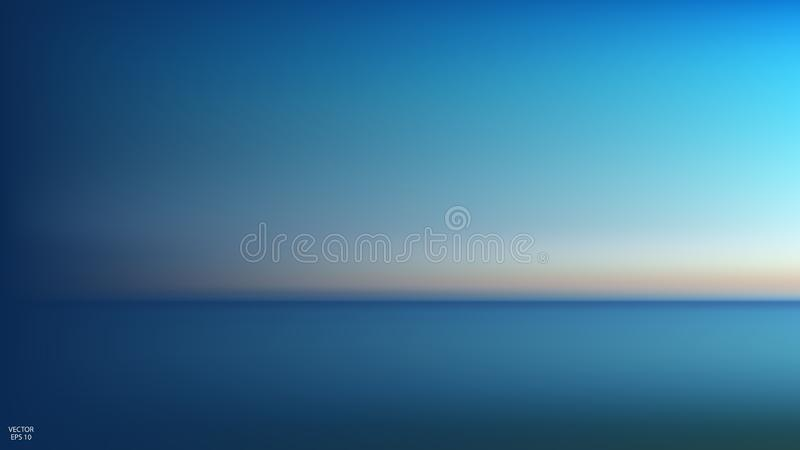 Abstract aerial panoramic view of sunrise over ocean. Nothing but sky and water. Beautiful serene scene. Vector illustration vector illustration
