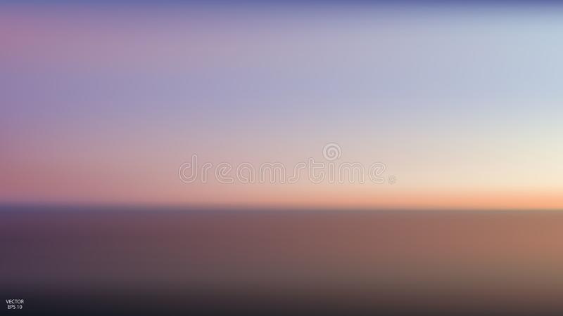 Abstract aerial panoramic view of sunset over ocean. Nothing but sky and water. Beautiful serene scene. Vector illustration.  vector illustration