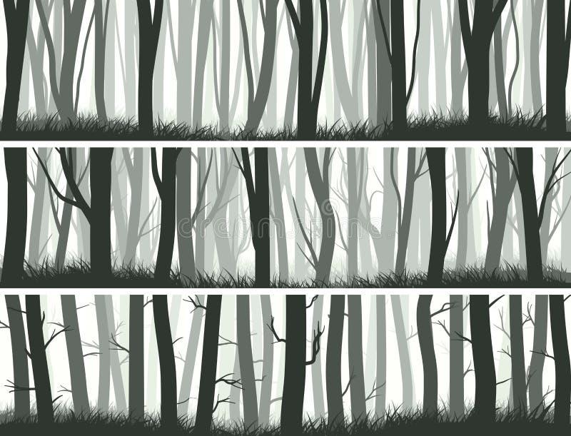 Horizontaal bannersbos met boomstammen van bomen royalty-vrije illustratie