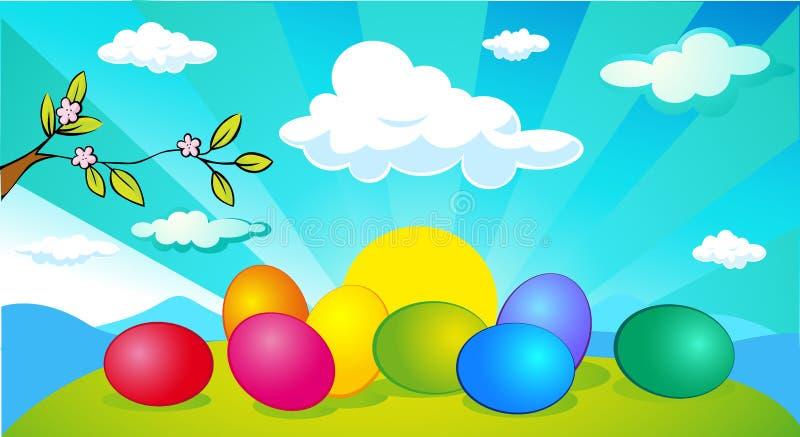 Horizontaal de bannerontwerp van Pasen en van de lente met paasei - vector royalty-vrije illustratie