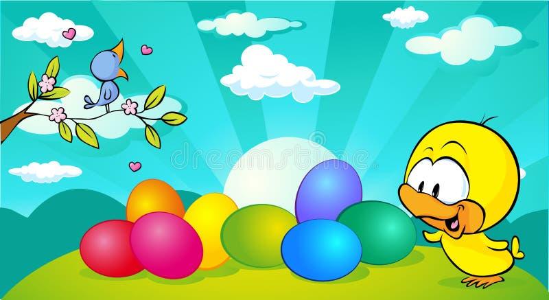 Horizontaal de bannerontwerp van Pasen en van de lente met vogel en kip - vector vector illustratie