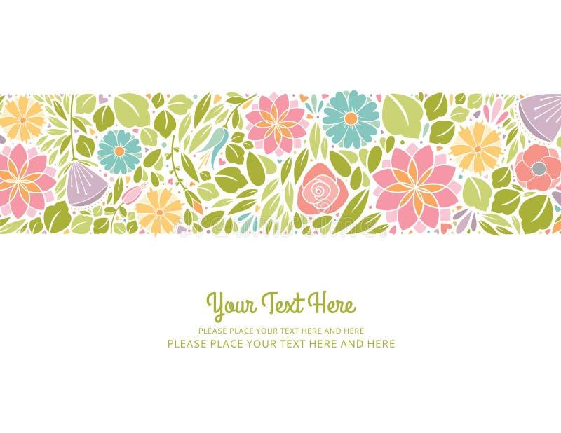 Horizontaal de lente Bloemenontwerp vector illustratie