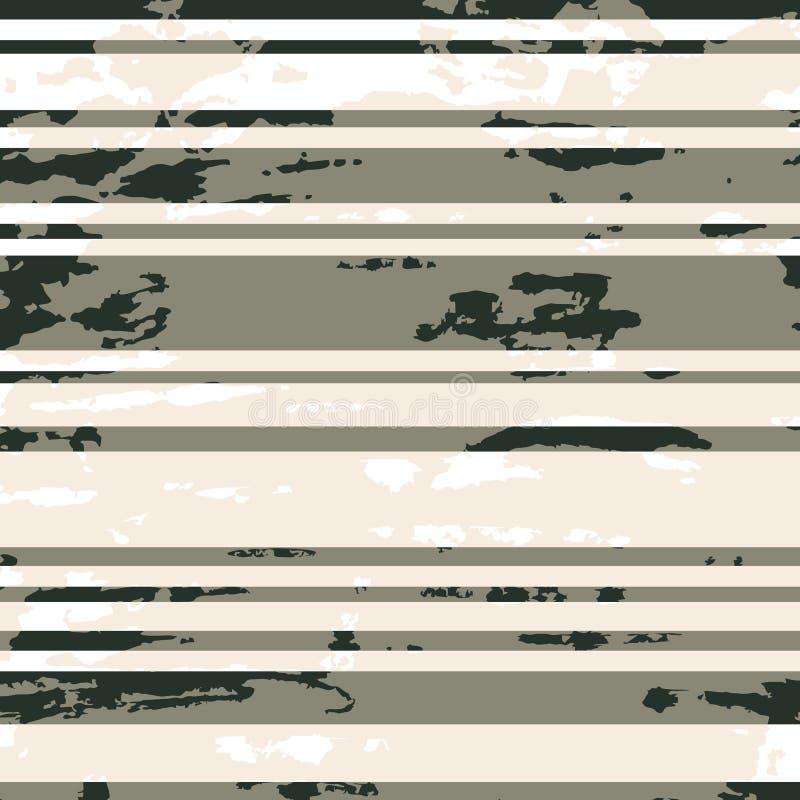 Horizontaal gestreept grungepatroon in zwarte, grijze en witte tonen royalty-vrije illustratie