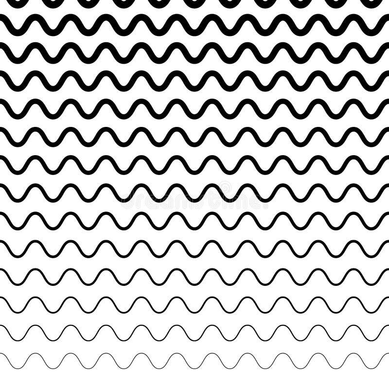 Horizontaal herhaalbare onregelmatige golvende lijnen Billow, ripply, de V.N. stock illustratie