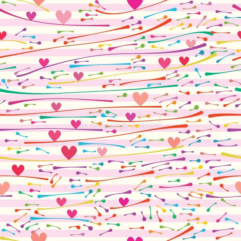Horizontaal het vuurwerk naadloos patroon van het liefdesaldo stock illustratie