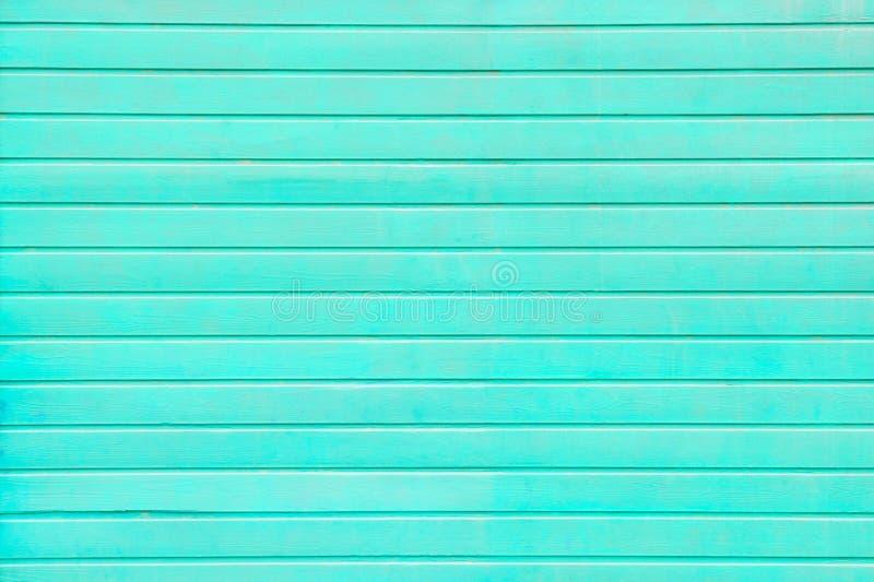 Horizontaal houten planken geschilderd turkoois stock afbeeldingen