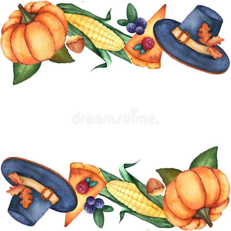 Horizontaal kader met waterverf illustratieve elementen voor Dankzeggingsontwerp royalty-vrije illustratie