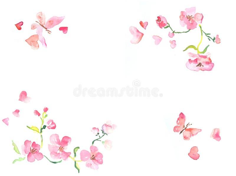 Horizontaal kader met waterverfillustratie van roze bloemen en vlinders met ruimte voor tekst stock illustratie