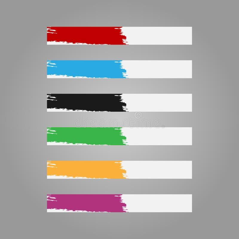 Horizontaal malplaatje voor Webbanner met een ruwe borstelslag royalty-vrije illustratie