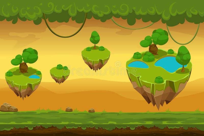 Horizontaal naadloos beeldverhaal fantastisch boslandschap vector illustratie