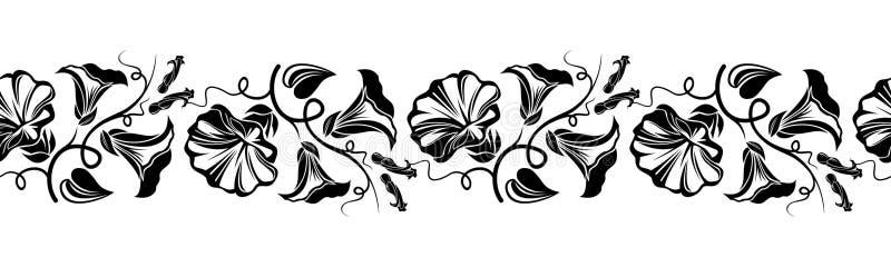 Horizontaal naadloos vignet met bloemen. vector illustratie