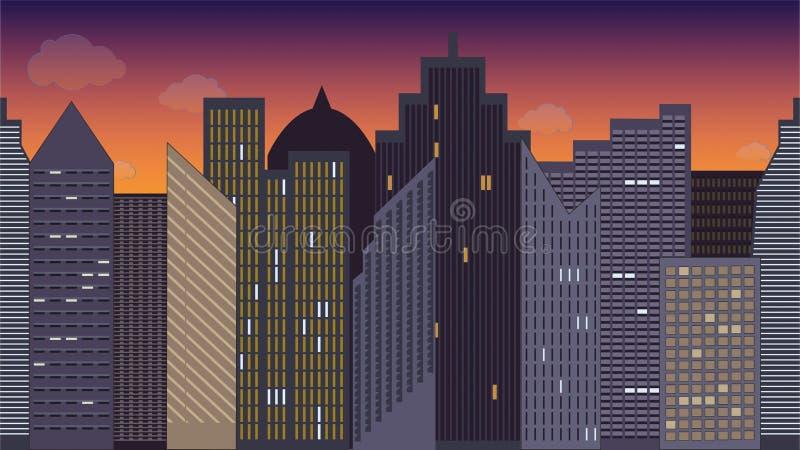 Horizontaal naadloze vectorillustratie van cityscape nacht kleurrijk Één van het district in Moskou vector illustratie