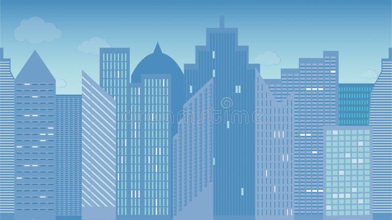 Horizontaal naadloze vectorillustratie van cityscape Ochtend kleurrijk Één van het district in Moskou vector illustratie