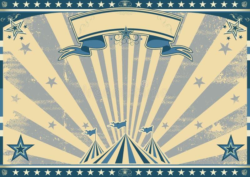 Horizontaal retro blauw circus stock illustratie