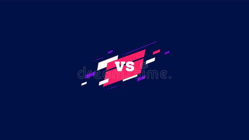 Horizontaal tegenover het scherm, embleem versus brieven voor sporten en de strijdconcurrentie MMA, UFS, Slag, versus gelijke, co vector illustratie