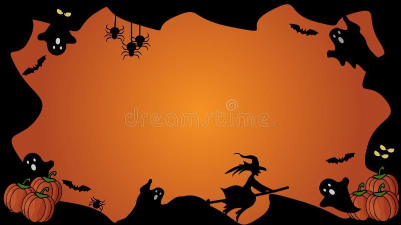 Horizontaal zwart en oranje het elementengrens van Halloween en malplaatje als achtergrond vector illustratie
