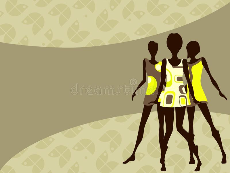 Horizontal 1960's retro banner in light colors royalty free illustration